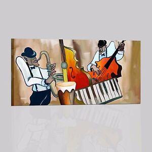 QUADRI-DIPINTI-A-MANO-MUSICA-QUADRO-CON-MUSICISTI-SASSOFONISTA-TASTERISTA