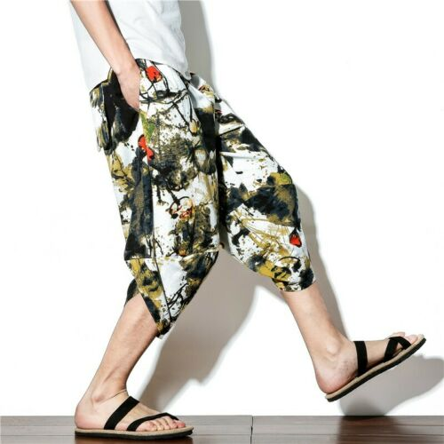 Mens Summer Casual Cotton Printed Beach Bloomers Cropped trousers Ethnic Style B