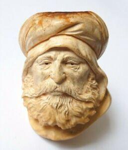 MotivéE Fourneau De Pipe En écume De Mer Statuette Sculpture 19e Siècle Cheikh Arabe