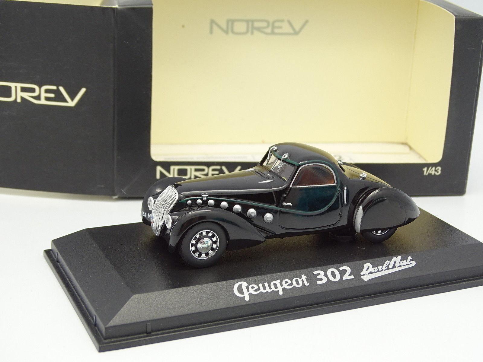 moda clasica Norev 1 43 - Peugeot 302 Darl Darl Darl Mate Negra  muchas sorpresas