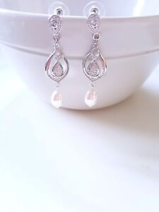 Details About Pearl Drop Earrings Wedding Bridal Vintage Style Silver
