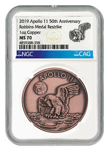 Exploration Missions Reasonable 2019 Apollo 11 50th Robbins Medal 1 Oz Copper Antiqued Medal Ngc Ms70 Sku55120