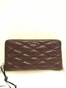 DKNY-Donna-Karan-Burgundy-Cordovan-Leather-Quilted-Zip-Around-Wallet-Purse-New