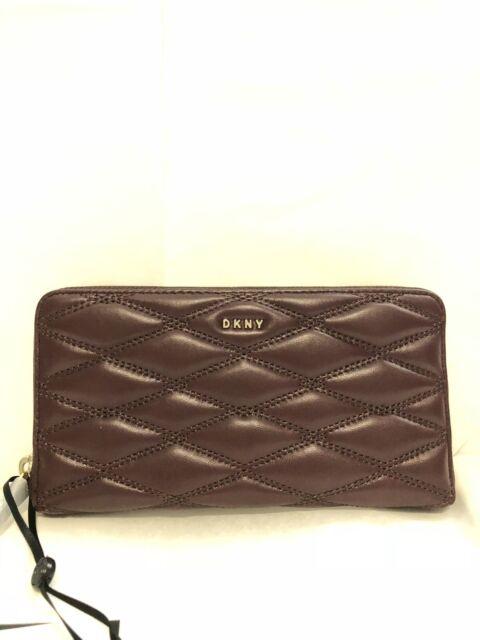 DKNY Donna Karan Burgundy Cordovan Leather Quilted Zip Around Wallet Purse New