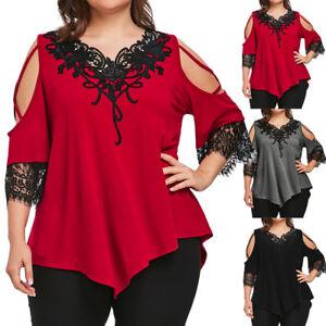 5c82b1ef51991 Plus Size Women Lace Off Shoulder T-Shirt Short Sleeve Casual Loose ...