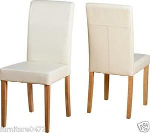Cream Faux Leather / Oak Dining Chairs H95cm (Price for 2 ...