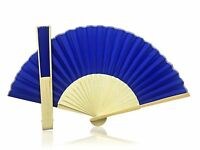 Deep Blue Fabric Hand Held Bamboo and Wooden Fan - Wedding Party Prop