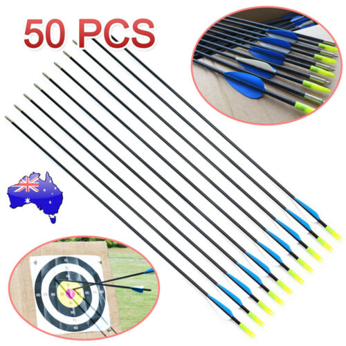 "50x 31"" Fiberglass Arrows Archery Hunting Target Compound Bow Fiber Glass Bows"