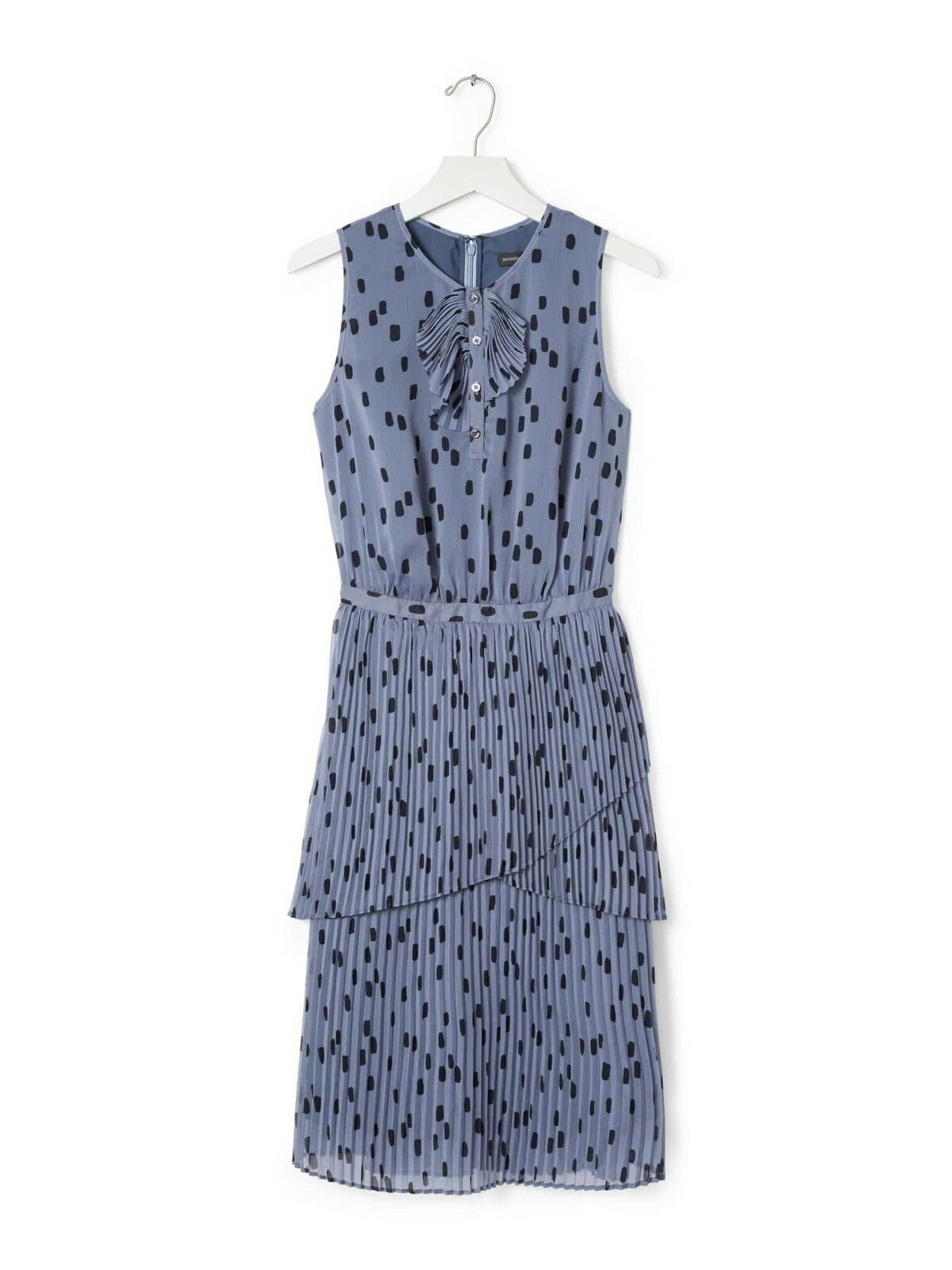 NWT Banana Republic pleated dot print polka dot Blau ruffle tierot dress 0