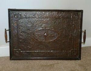 Antique-Arts-amp-Crafts-Edwardian-Oak-amp-Hammered-Copper-Tray-Turned-Wooden-Handles