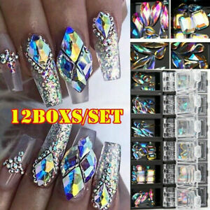 3D-AB-Diamond-Gems-Nail-Glitter-Rhinestone-Glass-12-Grids-Nails-Art-Decors-Charm