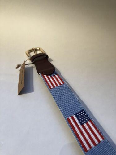 FOXCHASE RUN HANDMADE NEEDLEPOINT BELT USA AMERICAN FLAG STITCHED POWDER BLUE 36