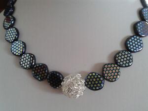 Collier Kugelkette Halskette Farbton Blau pk9 Perlenkette Aus Muschelkalk