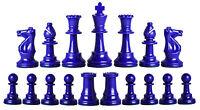 Staunton Triple Weighted Half Set (17 Pieces) Chessmen -2 Queens -royal Blue