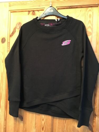 Top Size 12 BNWT SKECHERS Ladies Aurora Jet Black Logo Sweatshirt