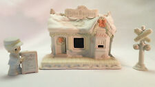 Precious Moments Sugar Town Train Station Light Up Conductor and Sign Figurines