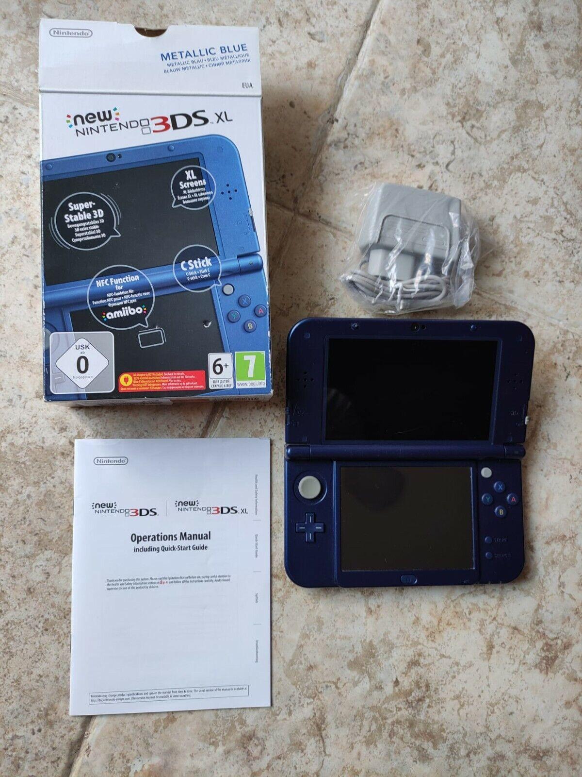 Nintendo New 3DS XL azul metalico con caja, ( Con cargador incluido...