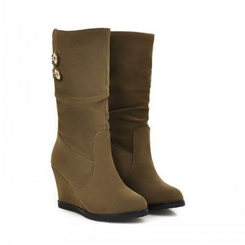 Winter Faux Suede Pull On Womens Mid Calf High Wedge Heel Buckle Slouch Boot HOT