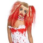 Ladies Blonde Blood Drip Gory Horror Bloody Halloween Fancy Dress Costume Wig