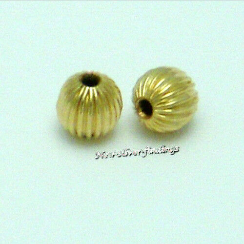 14k Gold Filled 3mm Hole:1.2mm 50pcs Corrugated Round Beads  New USA