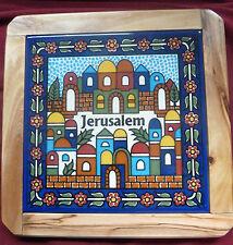 Armenian Ceramic Tile: Jerusalem Cityscape, Olive Wood Frame Trivet ~ Holy Land