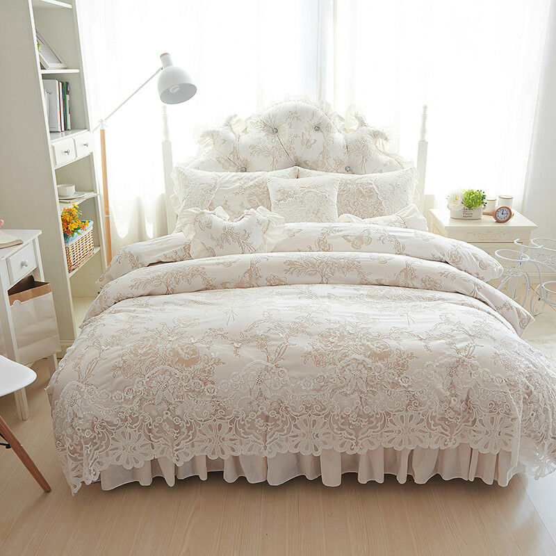 9pc Princess Fleece Lace Edge UK Double Bed Winter 600TC Duvet Cover Set