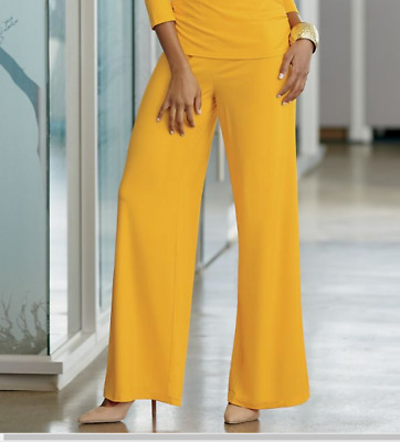 Rossi Wide Leg Pant by Ashro Everywhere Knits Mairgold Yellow L 2X 20W 22W PLUS