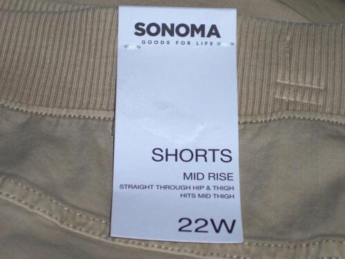 NWT Sonoma Mid Rise Stretch Cargo Front Leg Pocket Shorts 18W 22W 24W Wheat