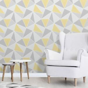 Image Is Loading Apex Geometric Wallpaper Yellow And Grey Feature Wall