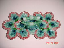 VINTAGE MAJOLICA HANDLED OYSTER SEVER TRAY PLATE SERVING DISH PLATTER