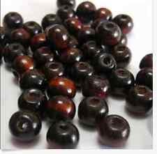 Free shipping 100pcs deep coffee round wood Loose beads 8mm