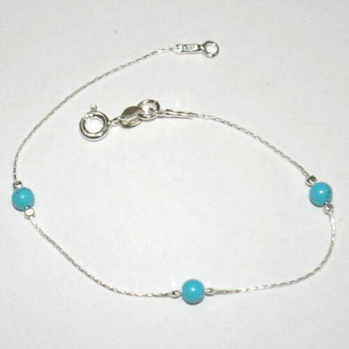 Made to your Size Sterling Silver 925 Chain and 4mm Turquoise Beads BRACELET