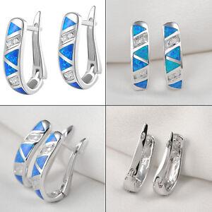 Newshe-Stud-Hoop-Earrings-For-Women-925-Sterling-Silver-Blue-Opal-White-Cz