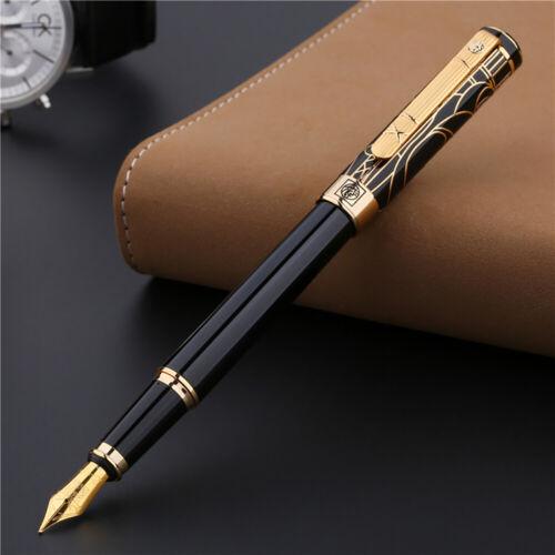 Picasso 902 Gentleman Fountain Pen Black Gold Trim Medium Nib Signature Pen