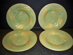 4-POTTERY-BARN-SAUSALITO-GOLD-SIDE-SALAD-PLATES-7-1-2-039-039-GREEN-AND-GOLD