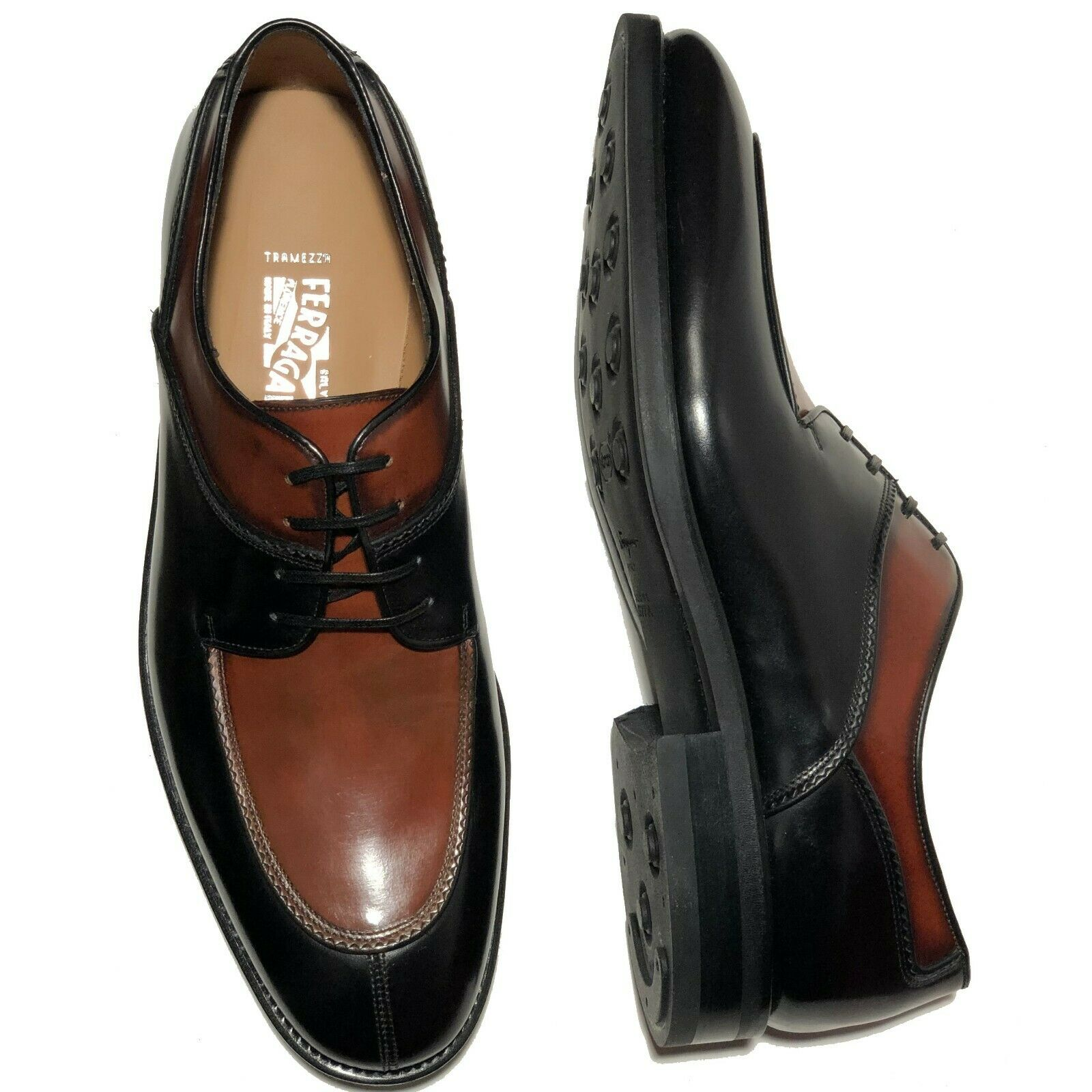 Ferragamo Tramezza 9 Ee Homme Filiberto Noir Marron Cuir Bout D'Aile Chaussures