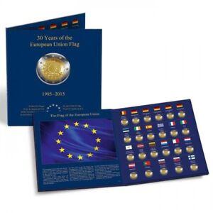 Leuchtturm-Muenzalbum-PRESSO-fuer-23-europ-2-Euro-Gedenkmuenzen-30-Jahre-EU-Flagge