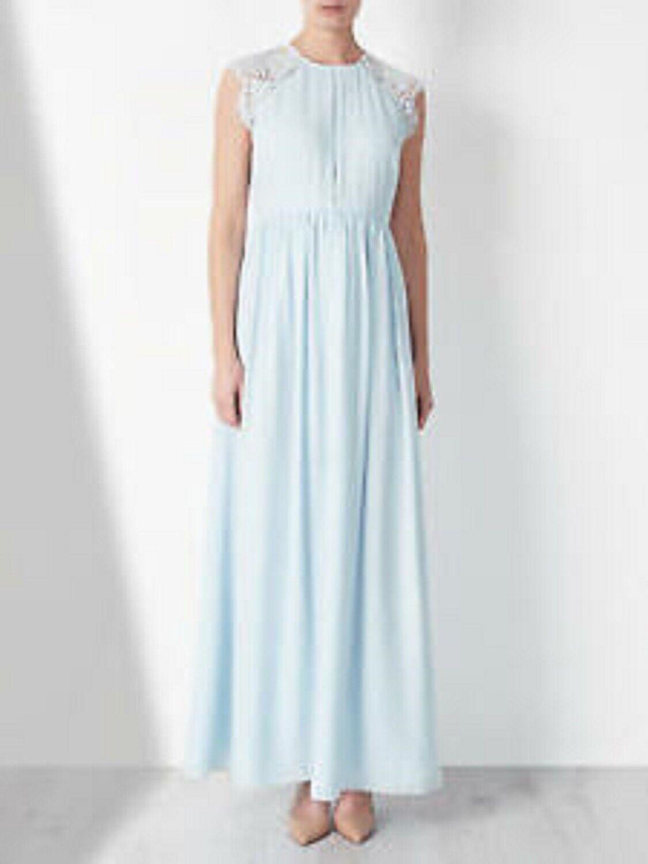 John Lewis Lace Back Drape Baby Blau Dress Brand New RRP