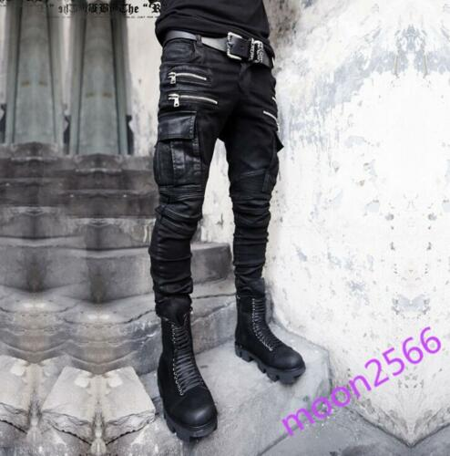 Punk Style Men/'s Black Skinny Biker Rock Denim Slim Trousers Jeans Pants Chic