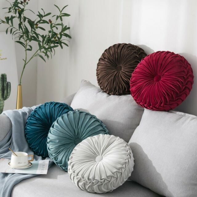 Velvet Pleated Round Cushion Sofa Couch Throw Pillow Pumpkin Pad Seat Home Decor