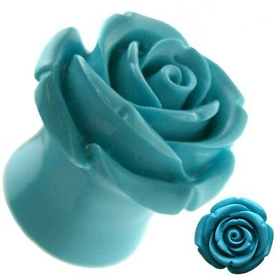 Turquoise Rose Resin Ear Tunnel Plugs Flared