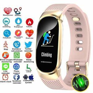 Damen-Smartwatch-Armband-Pulsuhr-Stoppuhr-Fitness-Track-Sportuhr-Schrittzaehler