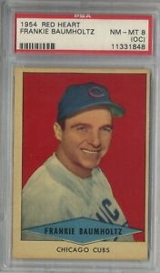 1954-RED-HEART-FRANKIE-BAUMHOLTZ-CHICAGO-CUBS-NM-MT-PSA-8-OC-SHORT-PRINT