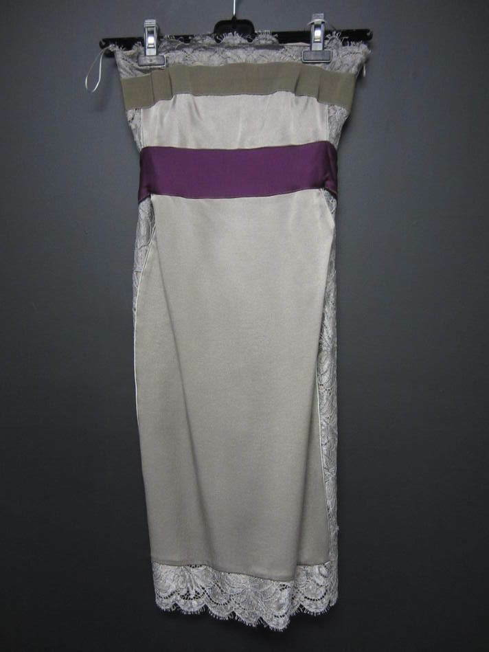 NWT  ALBERTA FERRETTI taupe satin & lace paneled strapless dress 38 2