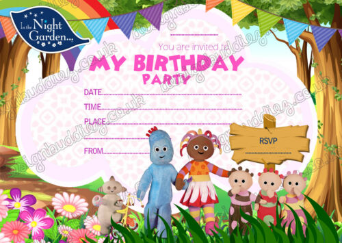 IN THE NIGHT GARDEN BIRTHDAY PARTY INVITATIONS INVITES ON THICK CARD x8+Envelope