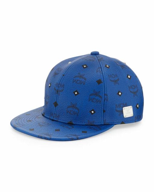 1828c31d12005 100 Authentic MCM Blue Leather Visetos Baseball Cap hat Sz S for ...