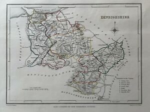 1848 Denbighshire, Galles Originale Antico a mano color MAP 172 anni