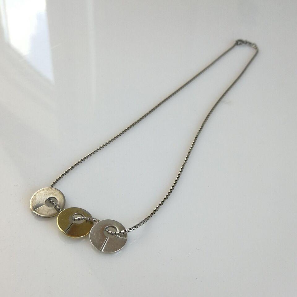 Halskæde, sølv, N E from sølv halskæde med 3 vedhæng
