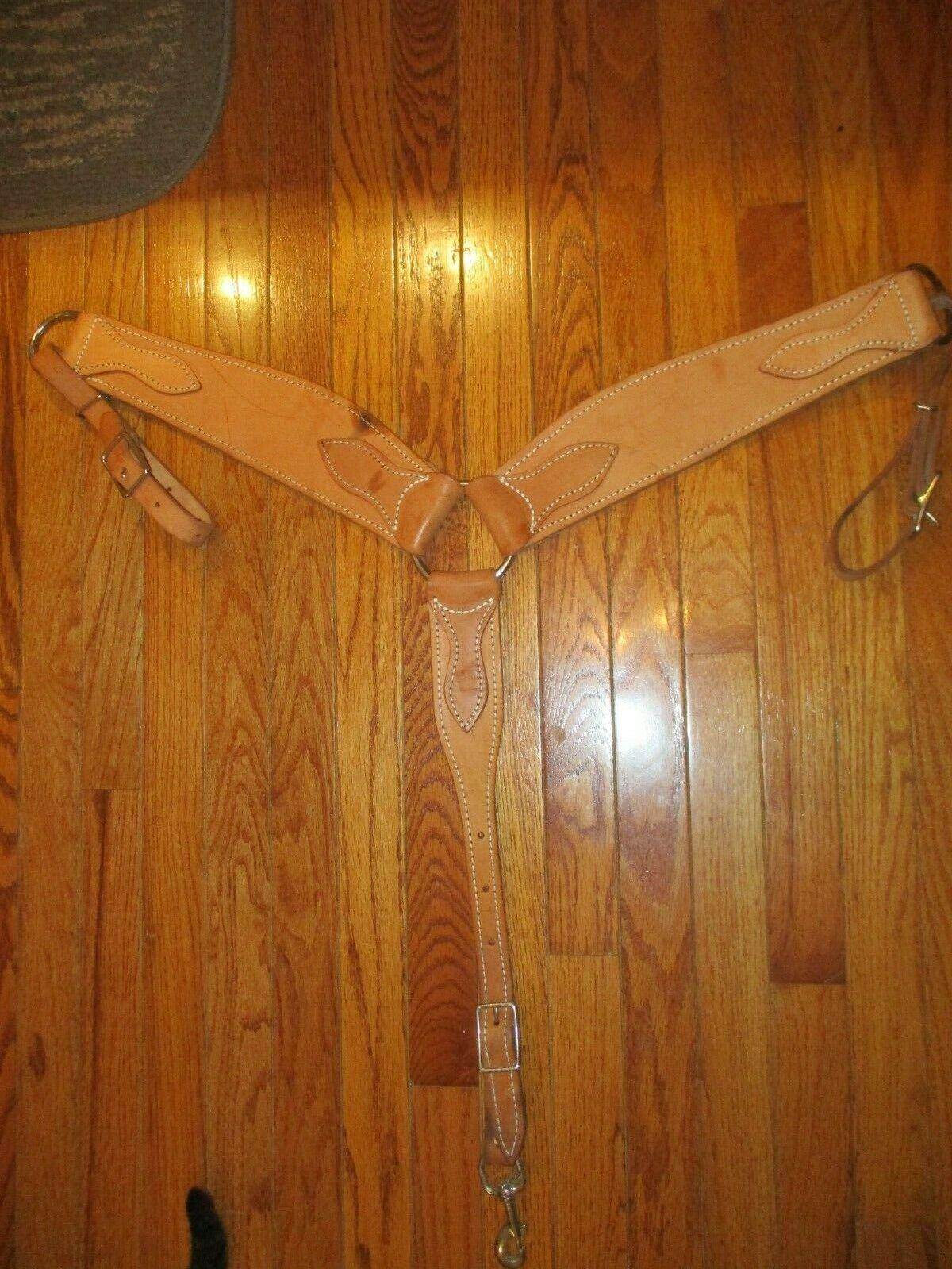 THICK Western pulling Breast Collar,  LITE oil Leather cavallo  Diuominiione