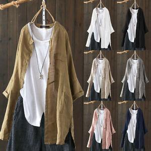 UK-Women-Oversized-Cotton-Shirt-Turndown-Collar-Long-Sleeve-Tops-Cardigan-Plus
